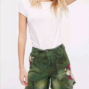 Free People camo embroidered flower shorts